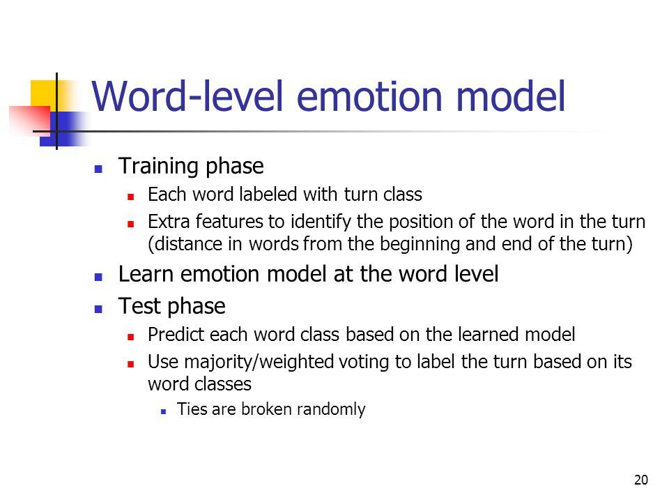 19 Word-level emotion model Student turn 321654615, asdakd, 342.234234 Asdhkas, a34334, 324,7657755 Features Machine learning Word 1 … Word n 32165461