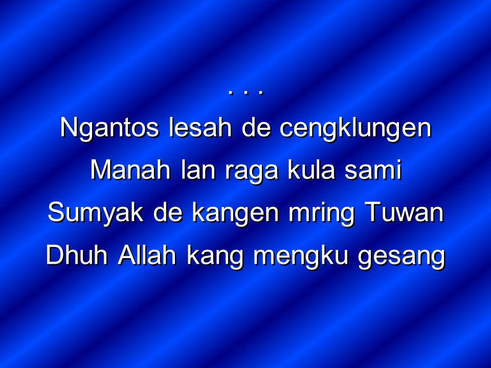 Ngantos lesah de cengklungen Manah lan raga kula sami Sumyak de kangen mring Tuwan Dhuh Allah kang mengku gesang...