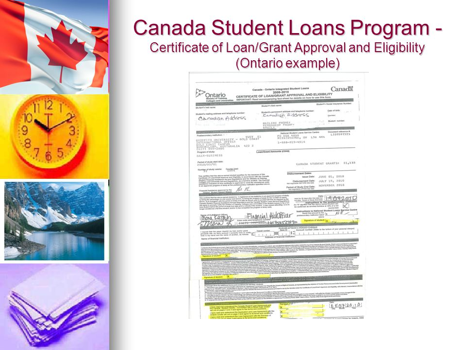 Canada Student Loans Program - Certificate of Loan/Grant Approval and Eligibility (Ontario example)