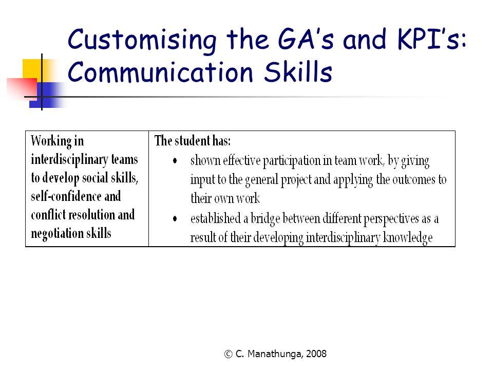 © C. Manathunga, 2008 Customising the GA's and KPI's: Communication Skills