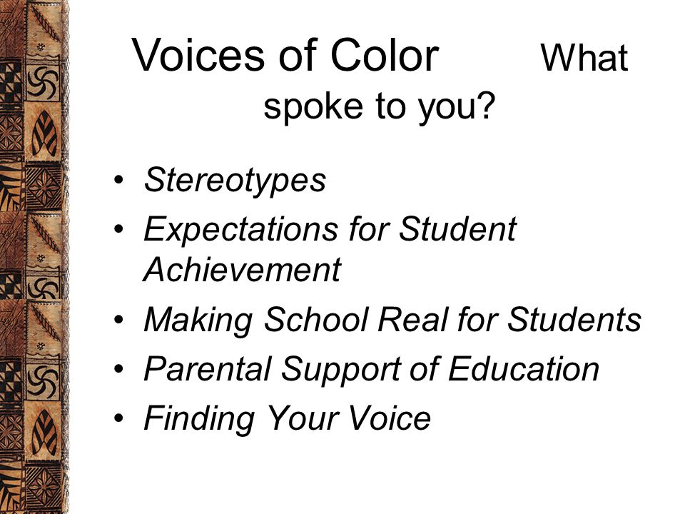 Stereotypes Expectations for Student Achievement Making School Real for Students Parental Support of Education Finding Your Voice Voices of Color What spoke to you