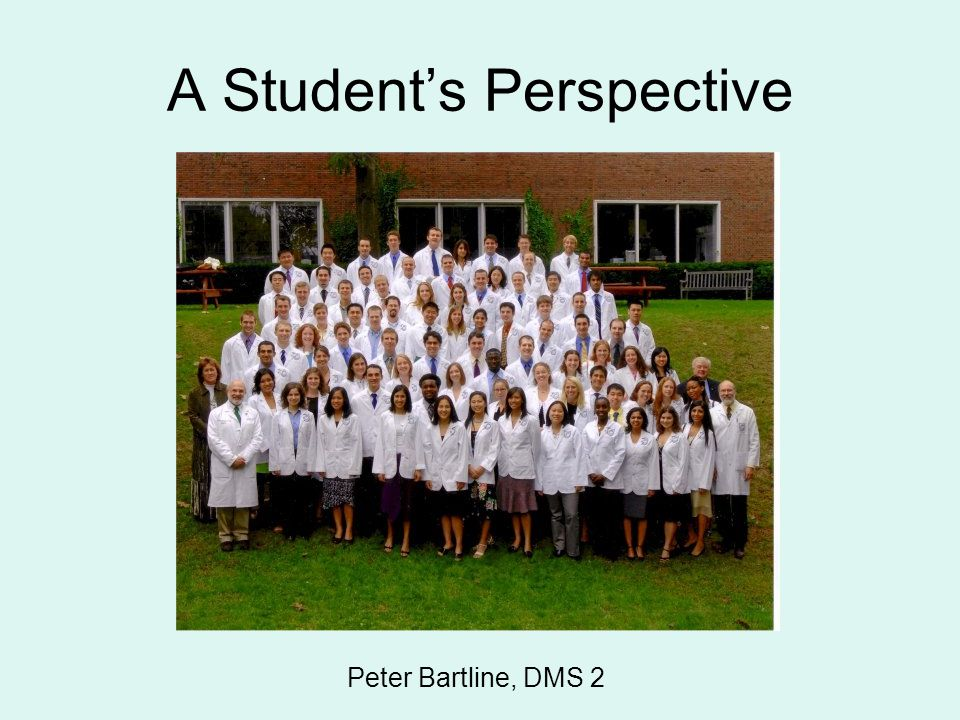 A Student's Perspective Peter Bartline, DMS 2