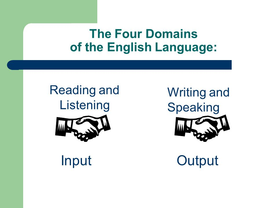 The Four Domains of the English Language: Reading and Listening Input Writing and Speaking Output