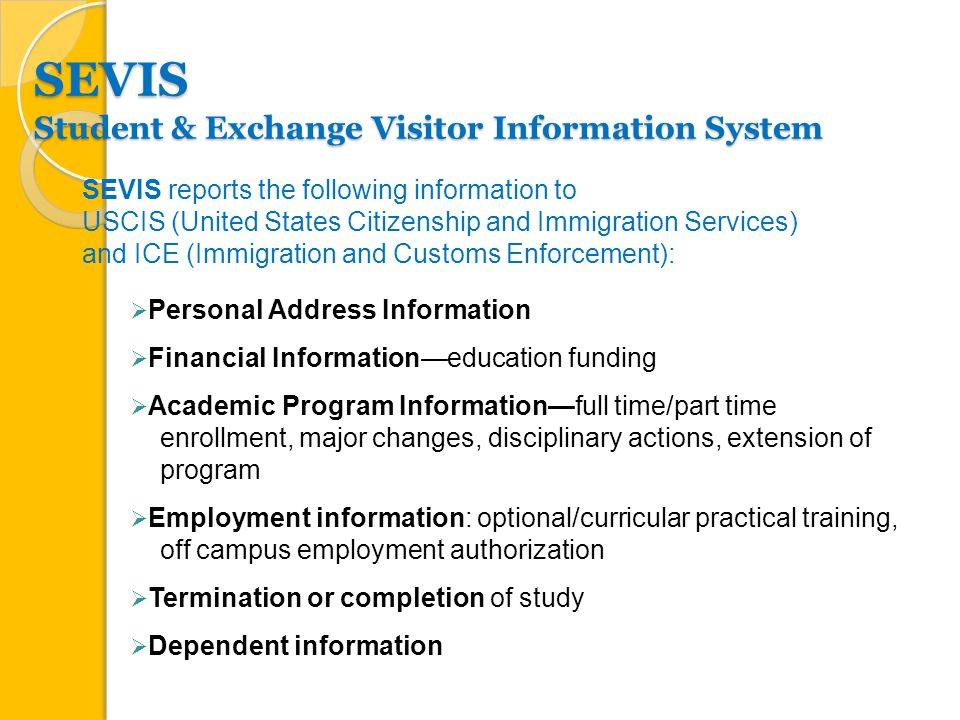 SEVIS Student & Exchange Visitor Information System  Personal Address Information  Financial Information—education funding  Academic Program Information—full time/part time enrollment, major changes, disciplinary actions, extension of program  Employment information: optional/curricular practical training, off campus employment authorization  Termination or completion of study  Dependent information SEVIS reports the following information to USCIS (United States Citizenship and Immigration Services) and ICE (Immigration and Customs Enforcement):
