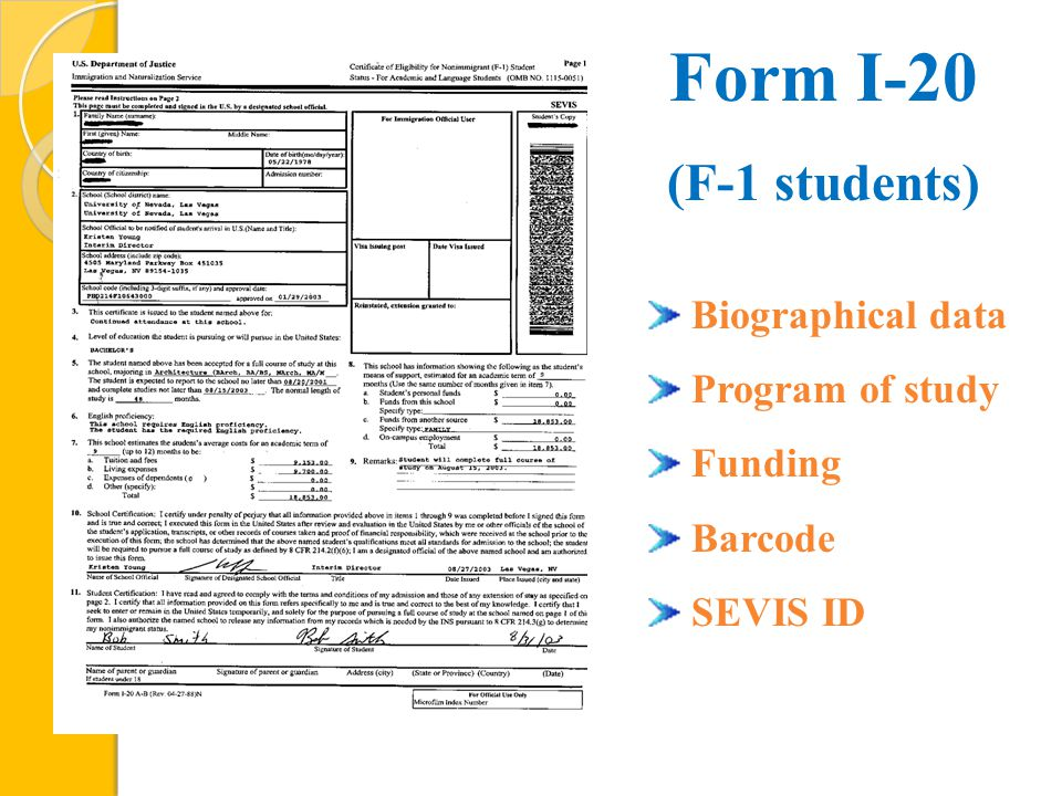 Biographical data Program of study Funding Barcode SEVIS ID Form I-20 (F-1 students)