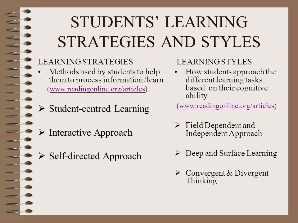 STUDENTS' LEARNING STRATEGIES AND STYLES LEARNING STRATEGIES Methods used by students to help them to process information /learn (   Student-centred Learning  Interactive Approach  Self-directed Approach LEARNING STYLES How students approach the different learning tasks based on their cognitive ability (   Field Dependent and Independent Approach  Deep and Surface Learning  Convergent & Divergent Thinking