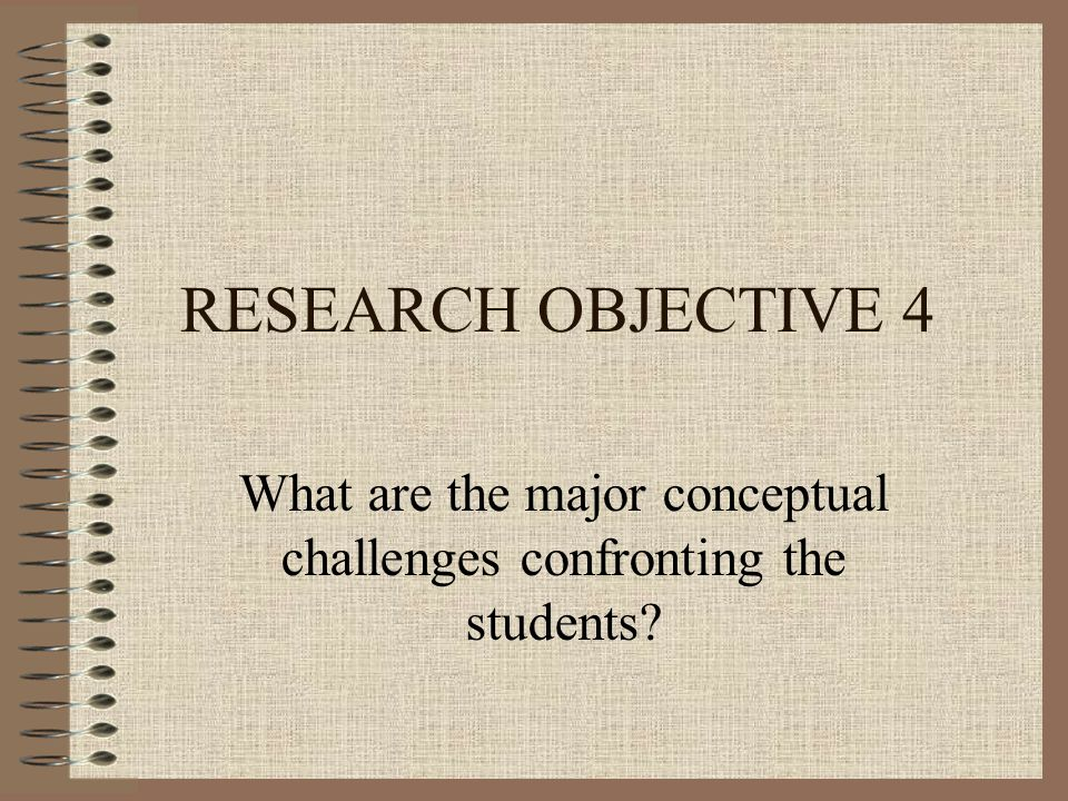 RESEARCH OBJECTIVE 4 What are the major conceptual challenges confronting the students