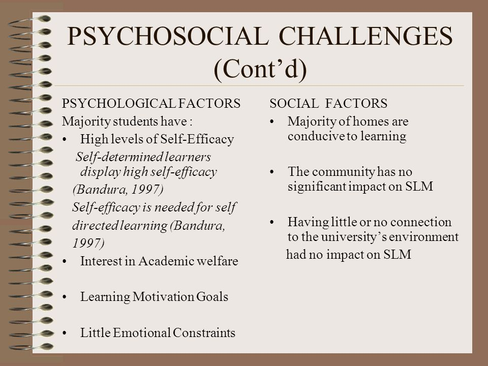 PSYCHOSOCIAL CHALLENGES (Cont'd) PSYCHOLOGICAL FACTORS Majority students have : High levels of Self-Efficacy Self-determined learners display high self-efficacy (Bandura, 1997) Self-efficacy is needed for self directed learning (Bandura, 1997) Interest in Academic welfare Learning Motivation Goals Little Emotional Constraints SOCIAL FACTORS Majority of homes are conducive to learning The community has no significant impact on SLM Having little or no connection to the university's environment had no impact on SLM