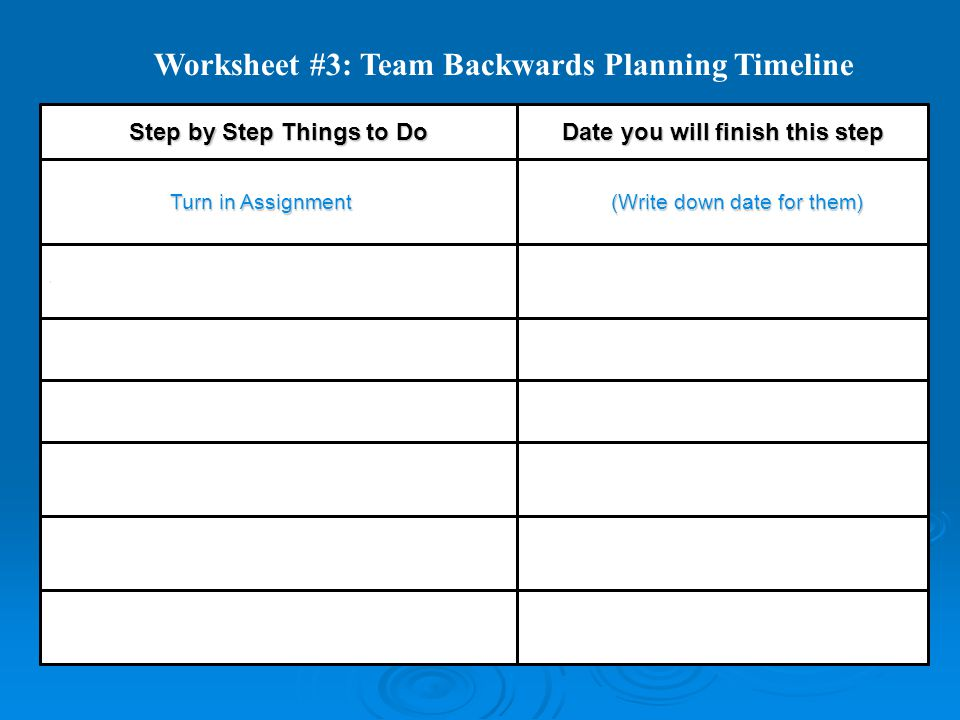 Worksheet #3: Team Backwards Planning Timeline  (Write down date for them) (Write down date for them) Turn in Assignment Turn in Assignment Date you will finish this step Step by Step Things to Do