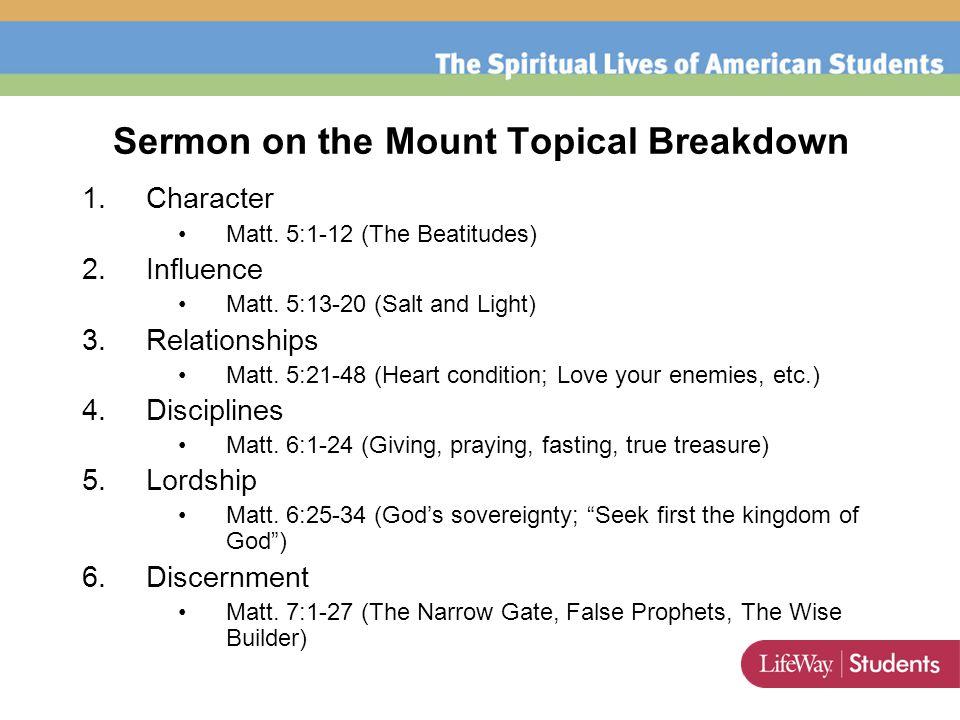 Sermon on the Mount Topical Breakdown 1.Character Matt.