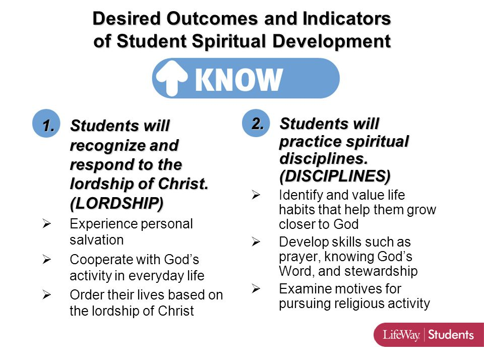 ETERNAL 1.Students will recognize and respond to the lordship of Christ.