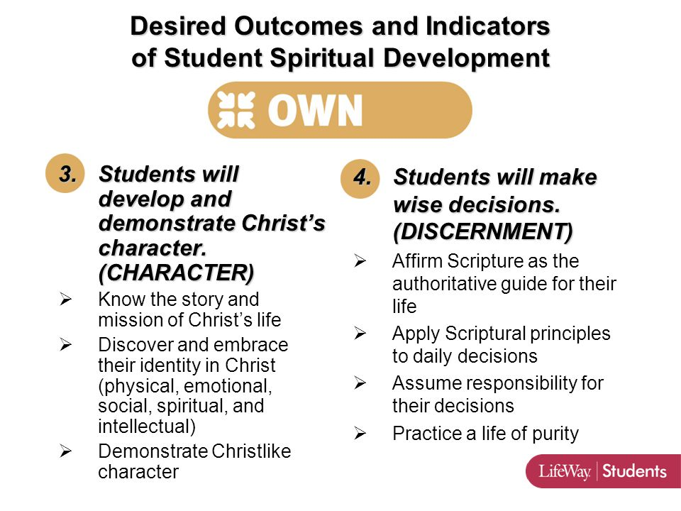 INTERNAL 3.Students will develop and demonstrate Christ's character.