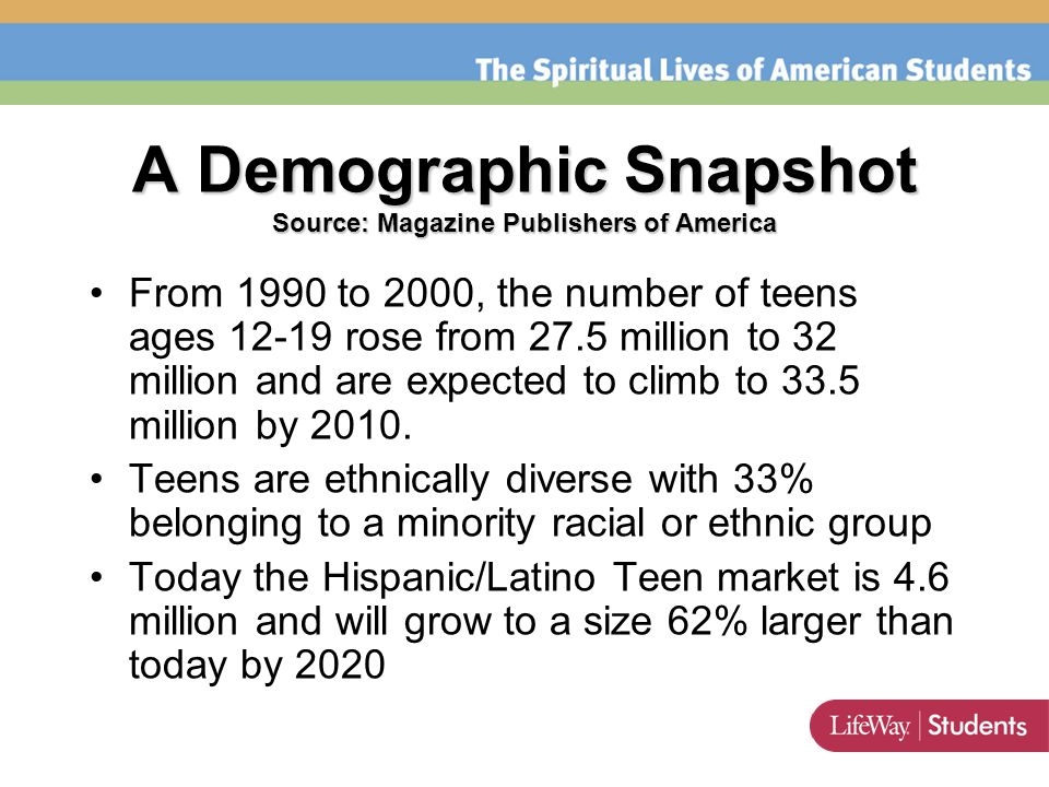 A Demographic Snapshot Source: Magazine Publishers of America From 1990 to 2000, the number of teens ages 12-19 rose from 27.5 million to 32 million and are expected to climb to 33.5 million by 2010.