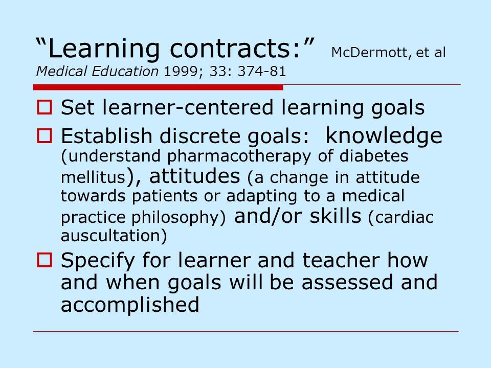 """Learning contracts:"" McDermott, et al Medical Education 1999; 33: 374-81  Set learner-centered learning goals  Establish discrete goals: knowledge"