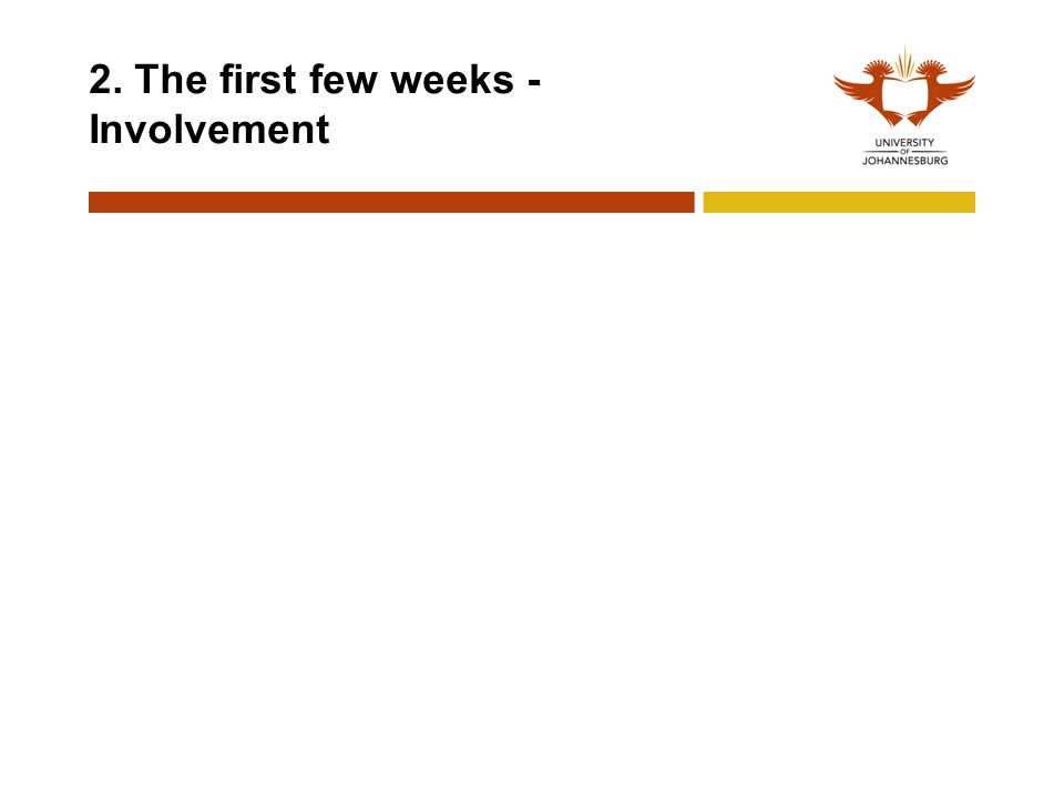 2. The first few weeks - Involvement