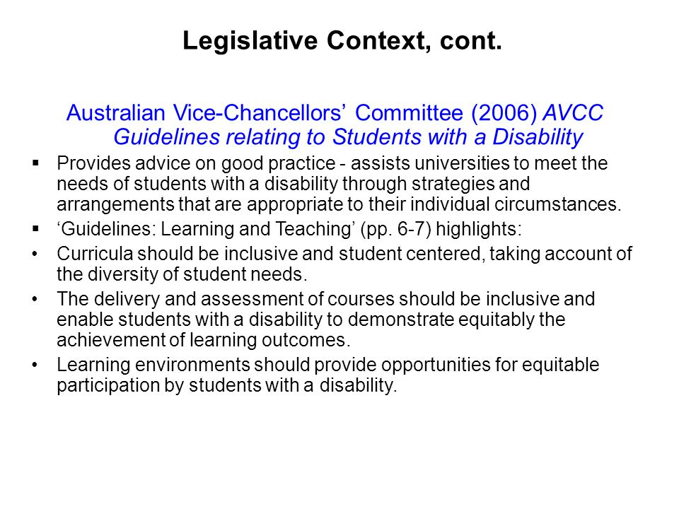 Legislative Context, cont.