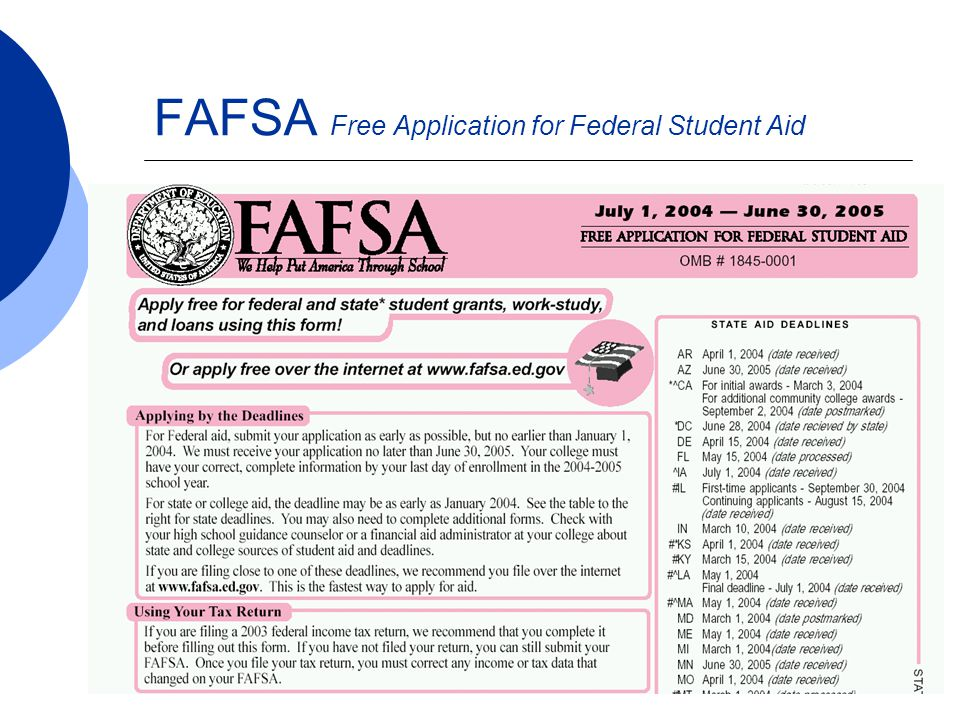  www.fafsa.ed.gov  Shorter processing time than paper  Less errors than paper  Immediate online assistance  Immediate confirmation of filing  Built-in edits (skip-logic)  Screen Reader friendly  Ability to sign form electronically with a PIN number obtainable at www.pin.ed.gov FAFSA