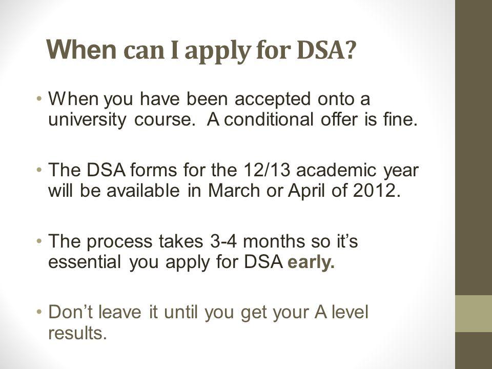 How do I apply for DSA.