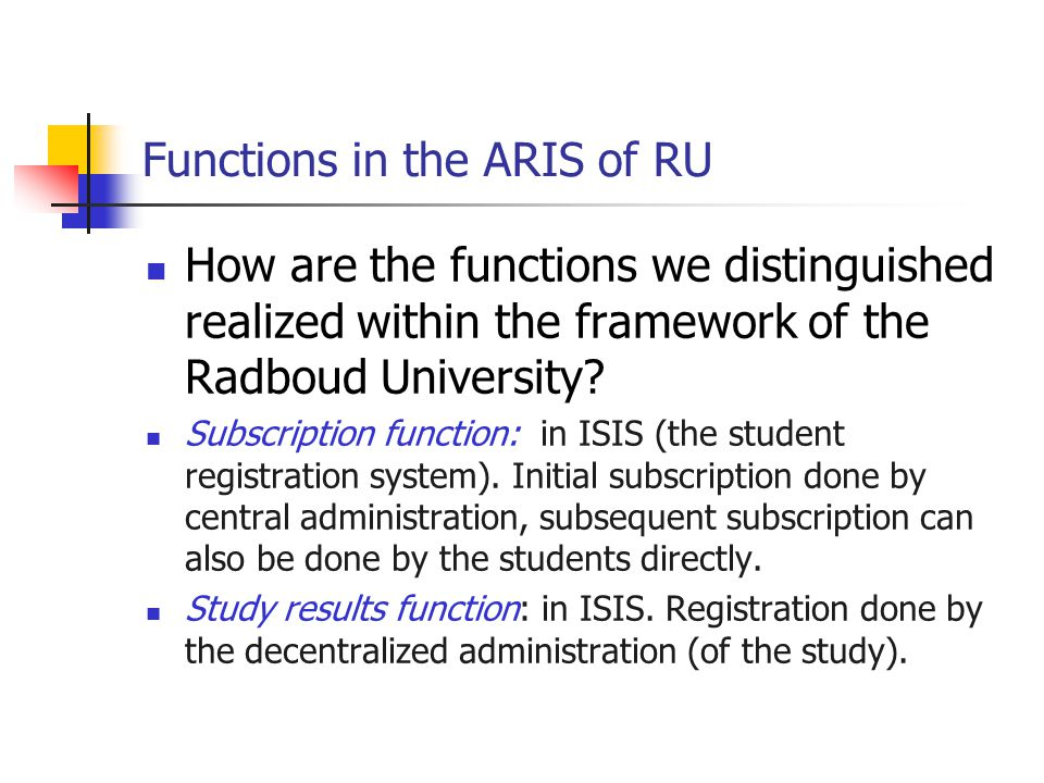 Functions in the ARIS of RU How are the functions we distinguished realized within the framework of the Radboud University.