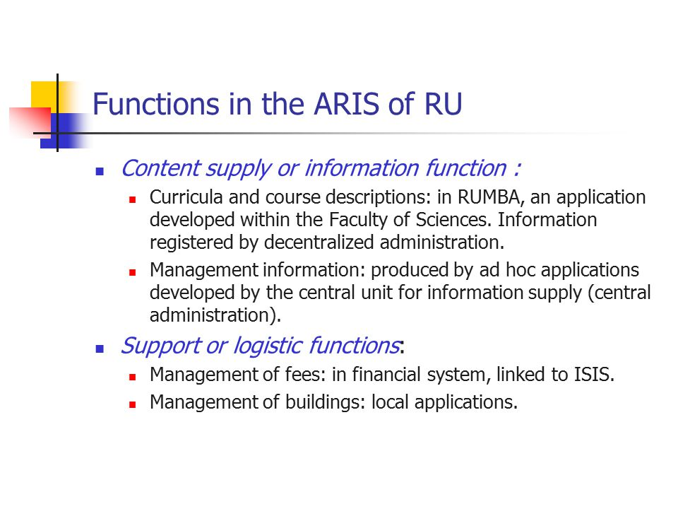 Functions in the ARIS of RU Content supply or information function : Curricula and course descriptions: in RUMBA, an application developed within the Faculty of Sciences.