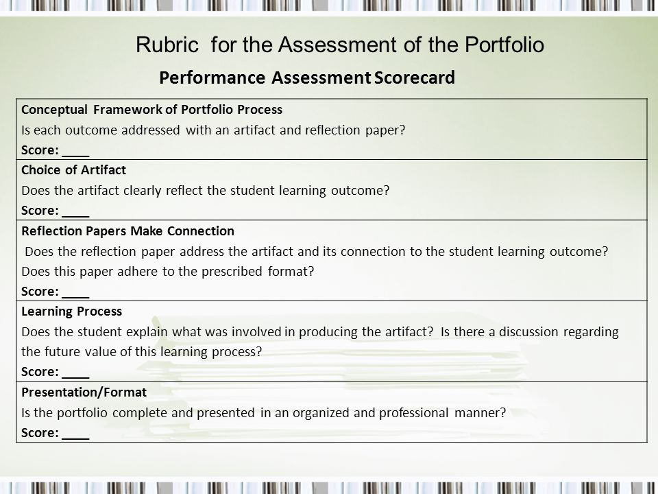 Conceptual Framework of Portfolio Process Is each outcome addressed with an artifact and reflection paper.