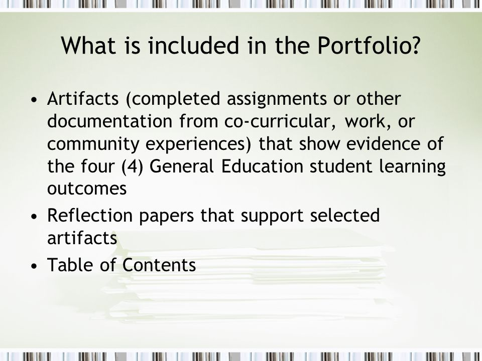 What is included in the Portfolio.