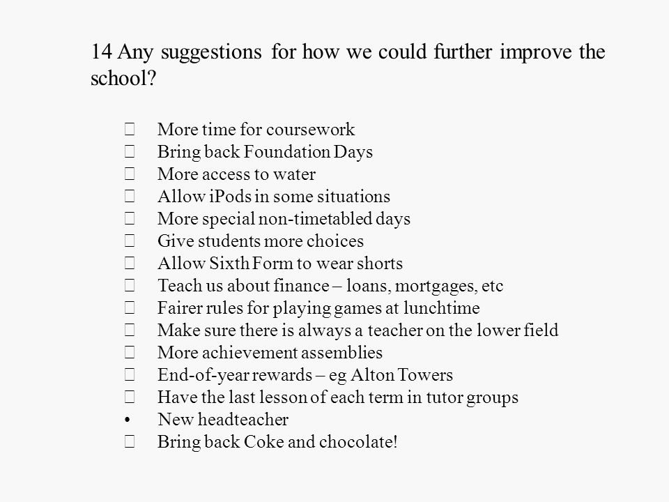 Student … 14 Any suggestions for how we could further improve the school.