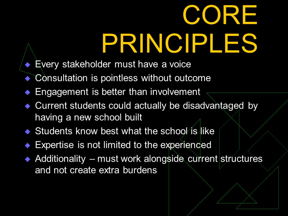 CORE PRINCIPLES  Every stakeholder must have a voice  Consultation is pointless without outcome  Engagement is better than involvement  Current students could actually be disadvantaged by having a new school built  Students know best what the school is like  Expertise is not limited to the experienced  Additionality – must work alongside current structures and not create extra burdens