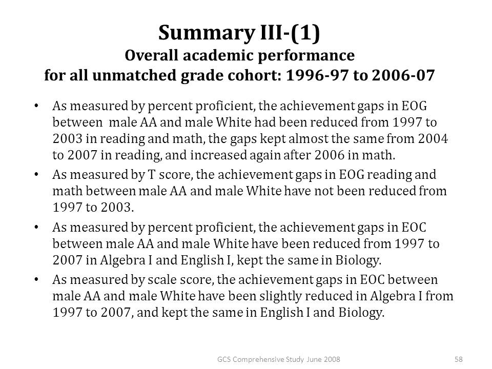 Summary III-(1) Overall academic performance for all unmatched grade cohort: 1996-97 to 2006-07 As measured by percent proficient, the achievement gap