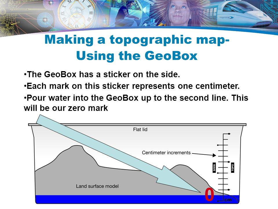 The GeoBox has a sticker on the side. Each mark on this sticker represents one centimeter. Pour water into the GeoBox up to the second line. This will