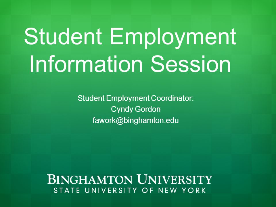 Non FWS Opportunities On-campus part-time jobs Do not require FWS No limit on earnings Off-campus part-time jobs Work for an employer off campus
