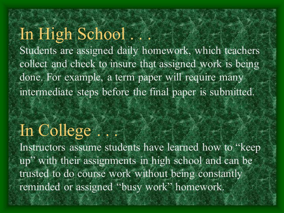 In High School...