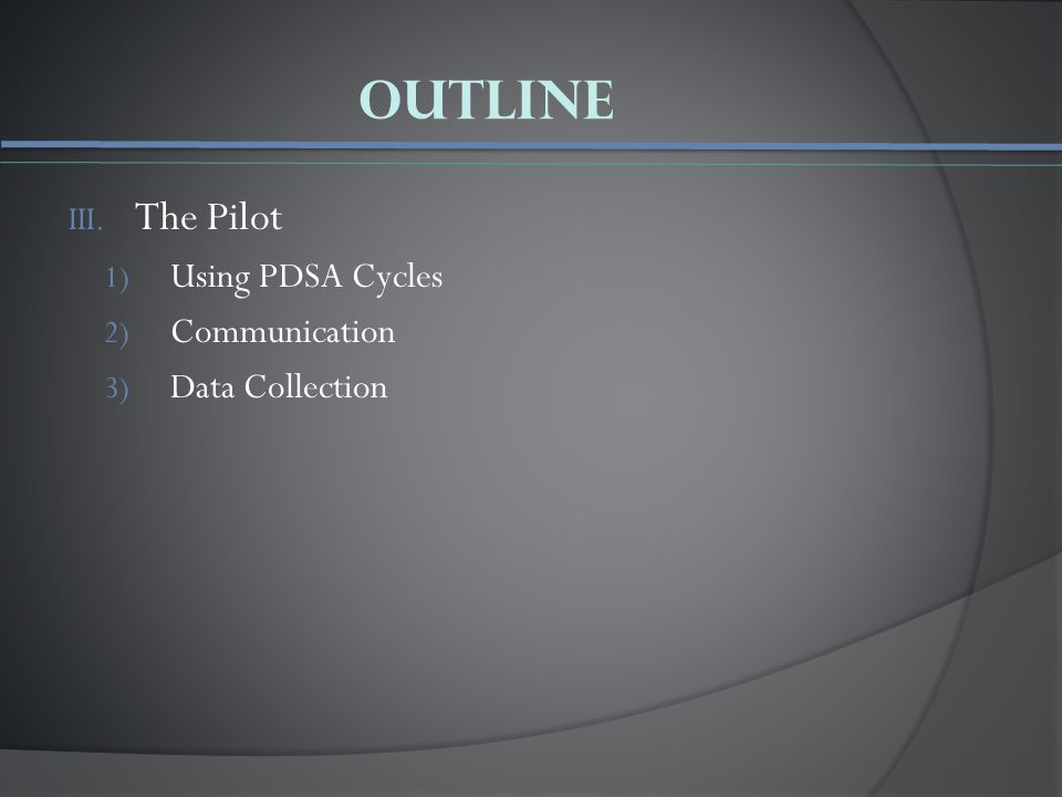 Outline III. The Pilot 1) Using PDSA Cycles 2) Communication 3) Data Collection