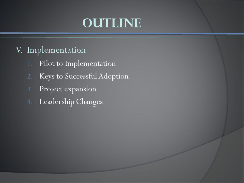 Outline V. Implementation 1. Pilot to Implementation 2.