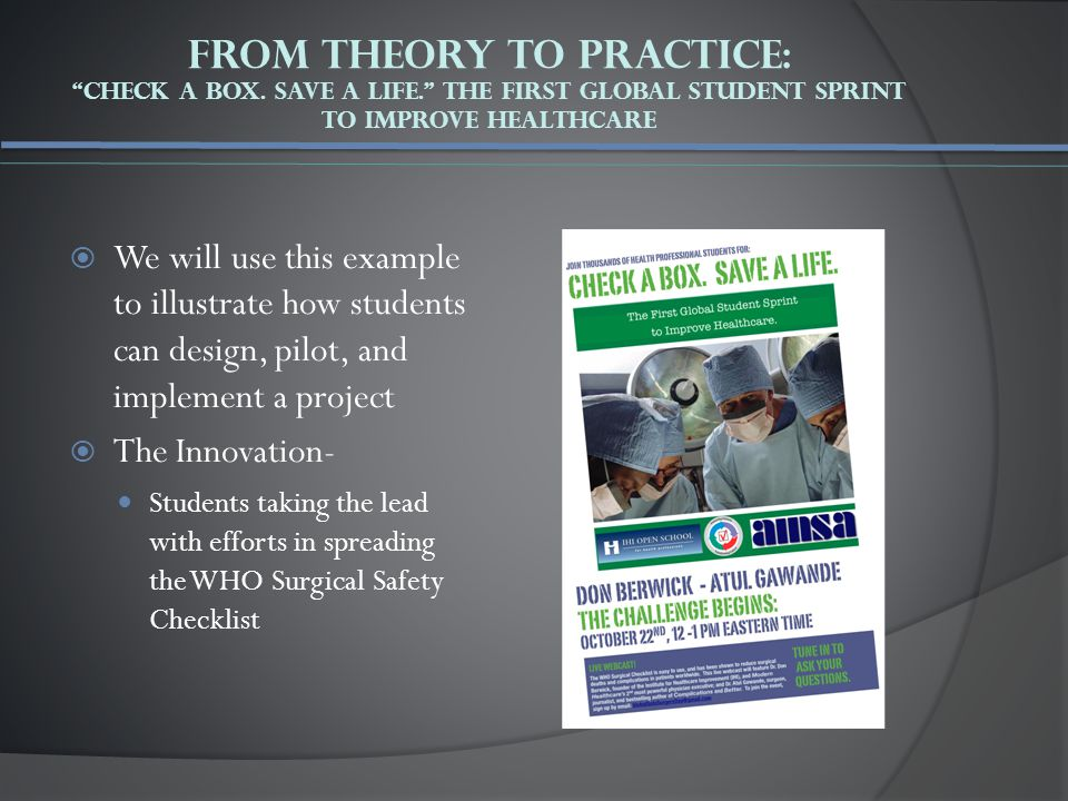 Example: Responsibility Charting Safe Surgery Student Sprint Steps/ActionsTasksDeadlineStatusOwnerNotes Creating a Vision/Strategy Project Proposal Action Plan 3/12/2009 3/15/2009 Complete Pending Sarah John Submitting to advisor Will email Pilot StudiesCase studies4/5/2009PendingSarah John Michael Draft #2 DeliverablesStudent PowerPoint 5/1/2009PendingMichaelDraft #1 completed PublicationsPoster session5/1/2009PendingJohnWill email committee