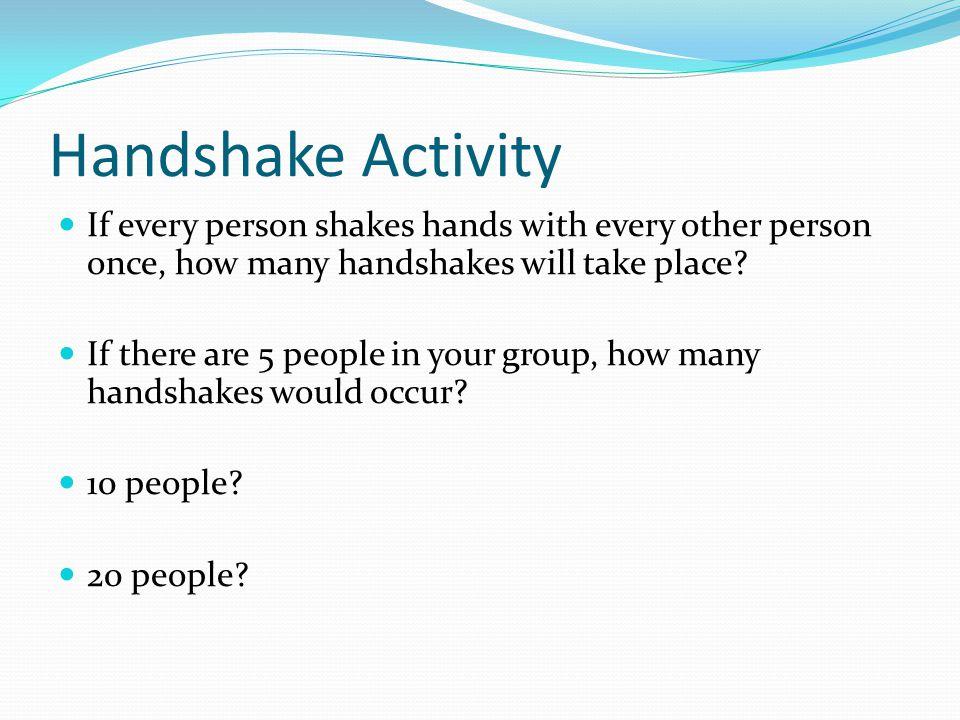 Handshake Activity People # of Handshakes 5 ___ 10 ___ 20 ___ Strategies?