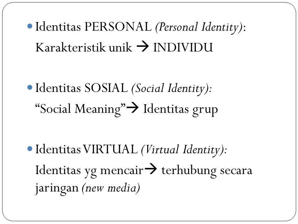 "Identitas PERSONAL (Personal Identity): Karakteristik unik  INDIVIDU Identitas SOSIAL (Social Identity): ""Social Meaning""  Identitas grup Identitas"
