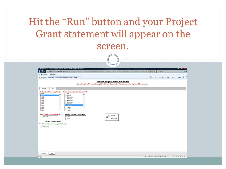 """Hit the """"Run"""" button and your Project Grant statement will appear on the screen."""