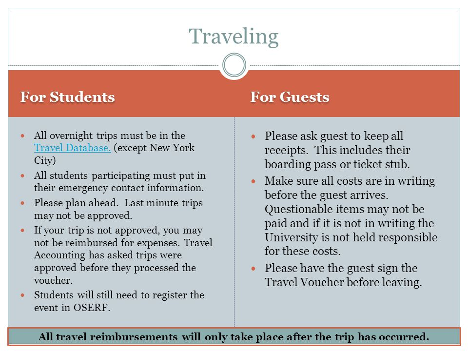 For Students For Guests All overnight trips must be in the Travel Database. (except New York City) Travel Database. All students participating must pu