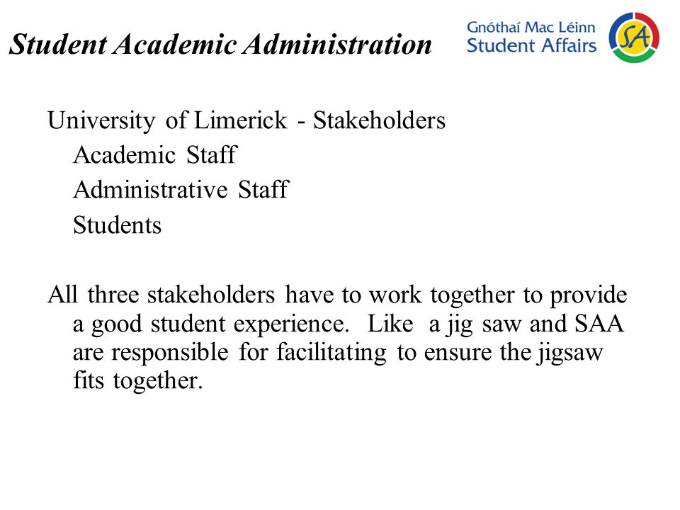 Student Academic Administration University of Limerick - Stakeholders Academic Staff Administrative Staff Students All three stakeholders have to work