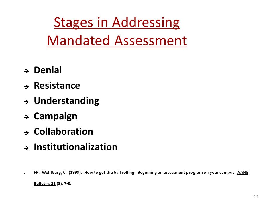 Stages in Addressing Mandated Assessment è Denial è Resistance è Understanding è Campaign è Collaboration è Institutionalization è FR: Wehlburg, C.