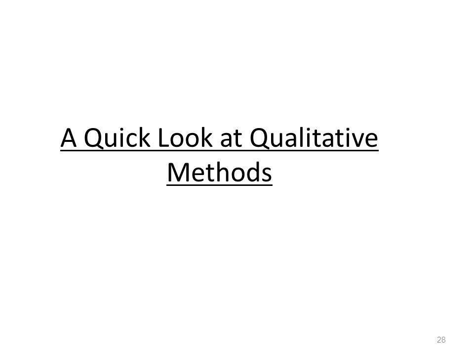 A Quick Look at Qualitative Methods 28