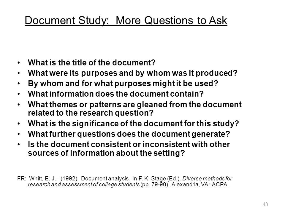Document Study: More Questions to Ask What is the title of the document.