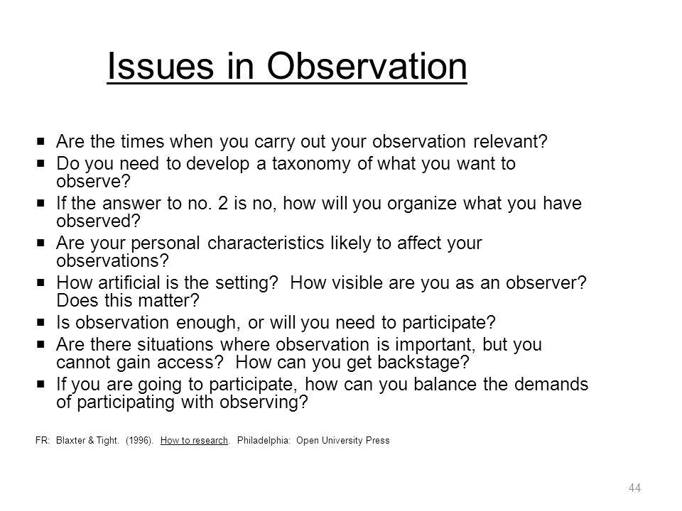Issues in Observation  Are the times when you carry out your observation relevant.