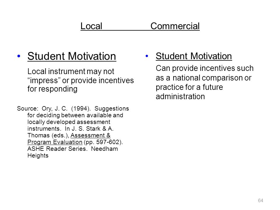 LocalCommercial Student Motivation Local instrument may not impress or provide incentives for responding Source: Ory, J.
