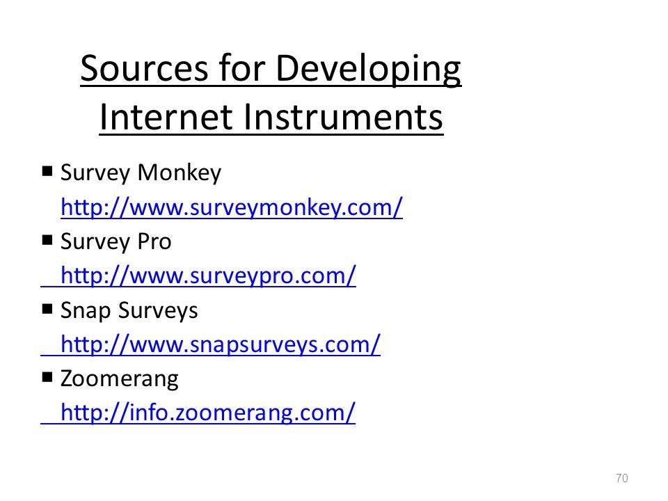 Sources for Developing Internet Instruments  Survey Monkey http://www.surveymonkey.com/  Survey Pro http://www.surveypro.com/  Snap Surveys http://www.snapsurveys.com/  Zoomerang http://info.zoomerang.com/ 70