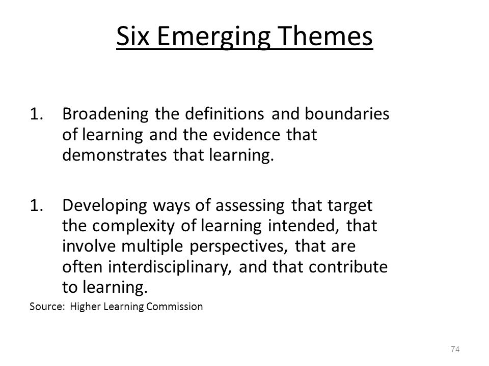 Six Emerging Themes 1.Broadening the definitions and boundaries of learning and the evidence that demonstrates that learning.