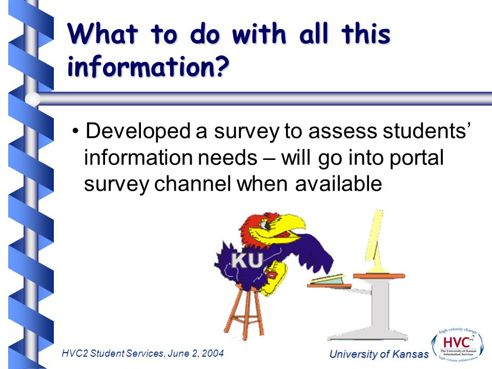 University of Kansas HVC2 Student Services, June 2, 2004 What to do with all this information.