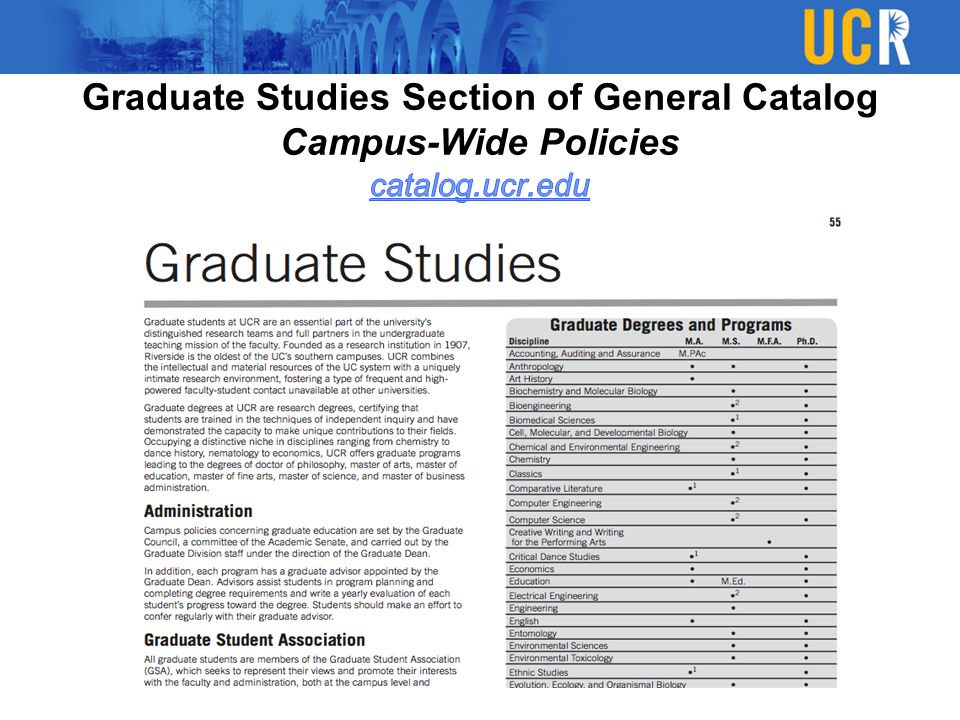 Graduate Studies Section of General Catalog Campus-Wide Policies