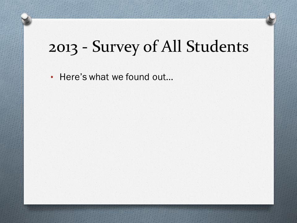 2013 - Survey of All Students Here's what we found out…